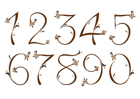 Brown floral numbers Vector