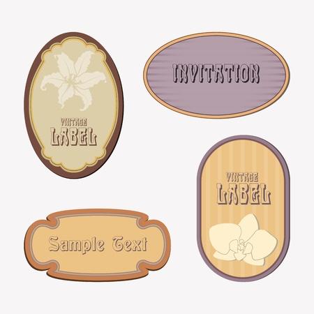 lilium: Set of retro labels in beige and purple tones