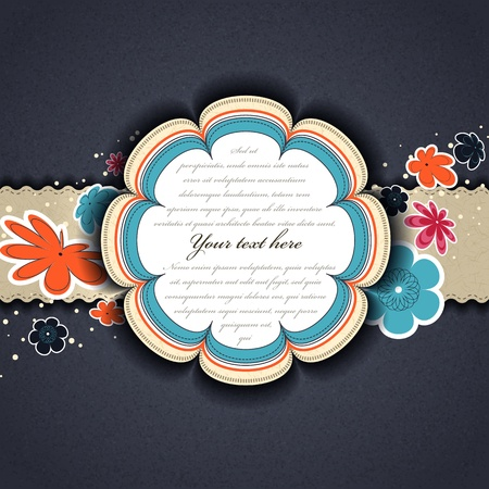 Scrap vintage template with flower Stock Vector - 12248192