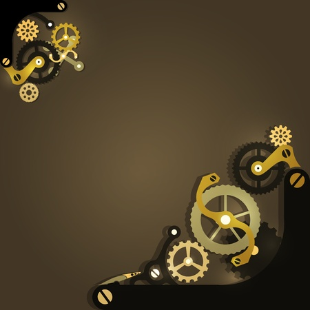 Steampunk mechanical background with gears Vector