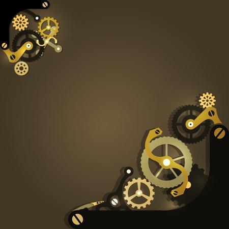 mechanical: Steampunk mechanische achtergrond met versnellingen Stock Illustratie