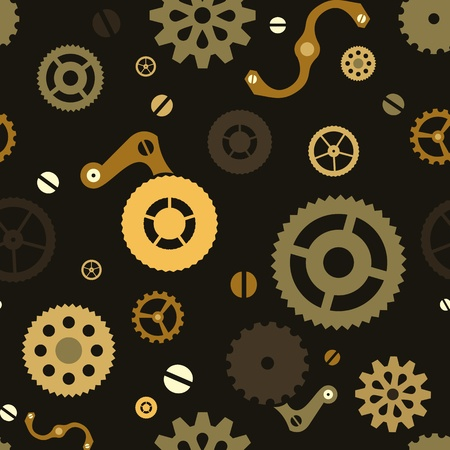 Steampunk seamless mechanical background with gears Ilustração