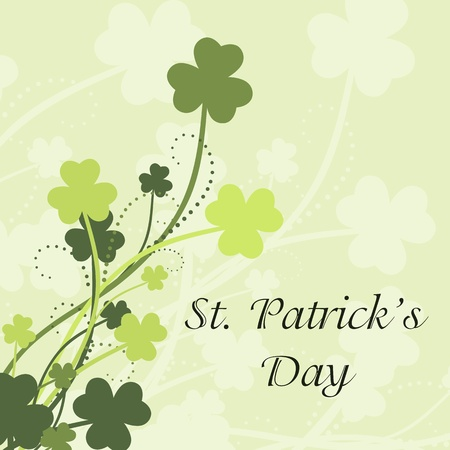 St Patricks Day card with shamrock leaves in green colors Vector