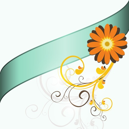 flower design: Floral light blue background with orange flower and place for text