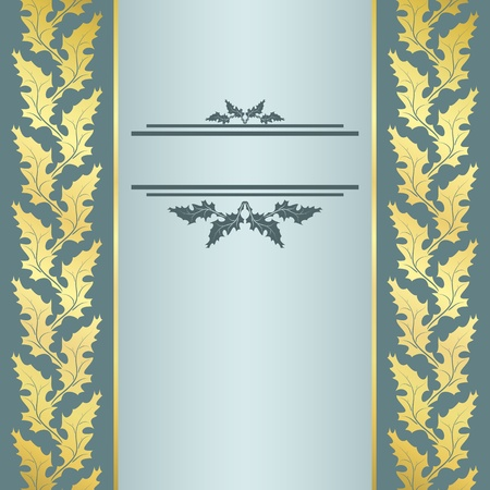 Elegant vintage blue and gold background with border for text Illustration