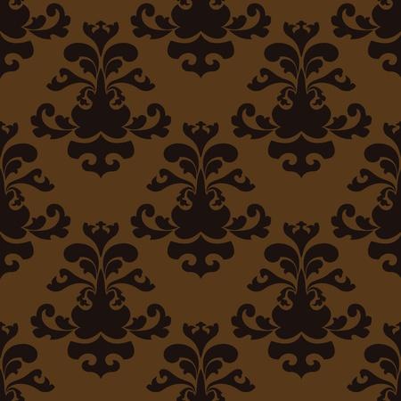 Seamless Damask brown and black wallpaper