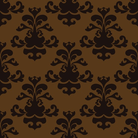 Seamless Damask brown and black wallpaper Vector