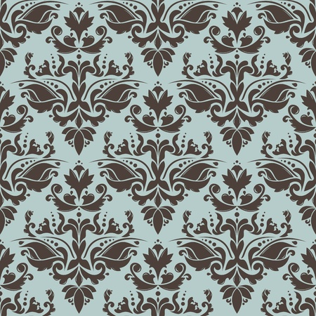Damask seamless pattern with floral elements