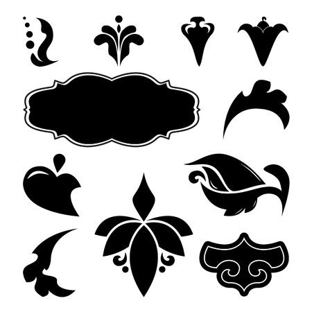 leaf curl: Collection of vector floral design elements