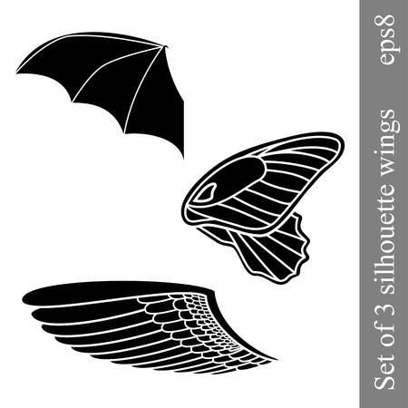 Set of 3 silhouette wings Vector