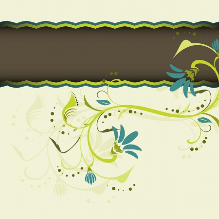 Floral light green background with flowers and place for text Vector