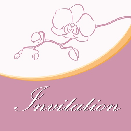 Wedding invitation with orchid silhouette Vector