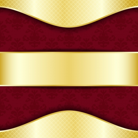 Gold and red template with place for text Vector