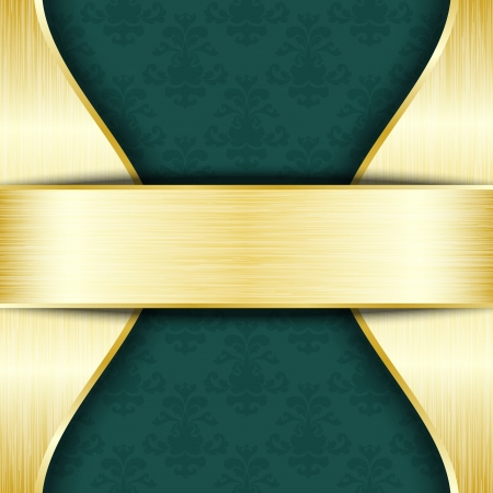 Gold and green template with place for text Vector