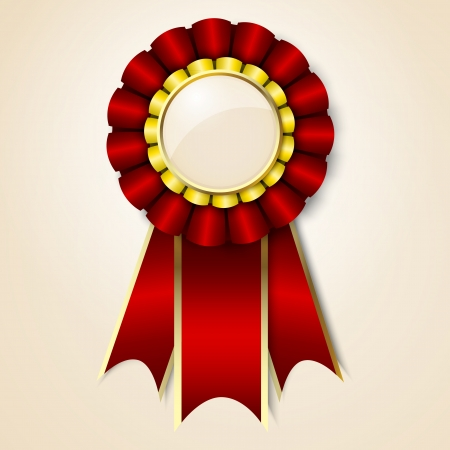 award ribbon rosette: Red vecor prize ribbon Illustration