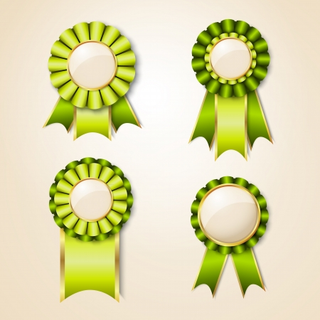 award ribbon rosette: Geen prize trophy ribbon  Eco and natural Illustration