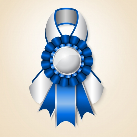 silver ribbon: Blue prize ribbon with place for text