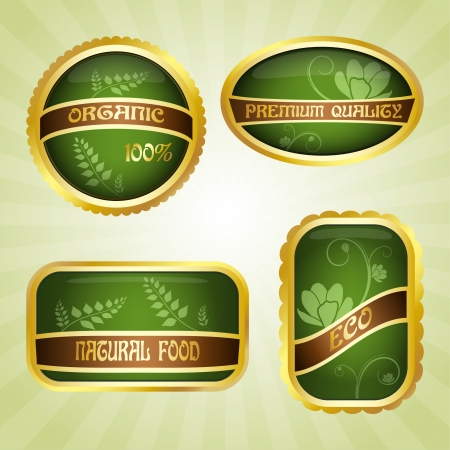Set of four green badges with ribbon  Eco and natural Stock Vector - 14298311