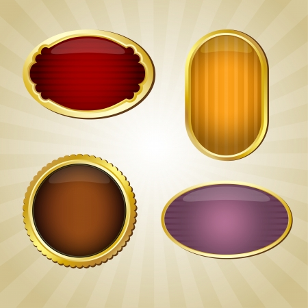 Set of four golden labels with place for text Stock Vector - 14298312