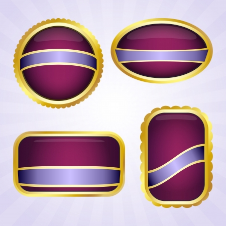 Elegant purple badges with ribbon for text Vector