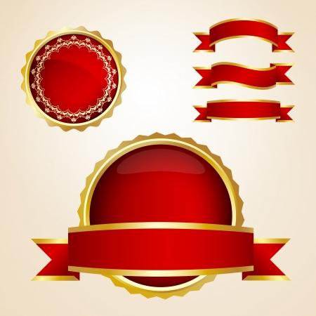 Rode linten en garantie tekenen Stock Illustratie