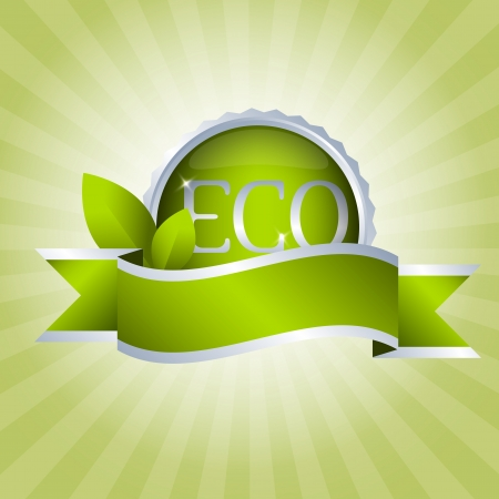 Green badge with ribbon  Eco and natural Vector