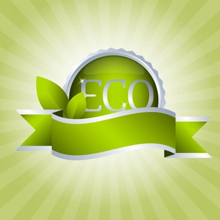Green badge with ribbon  Eco and natural Stock Vector - 14298309