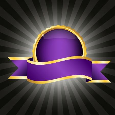テキストのリボンとエレガントな紫バッジ