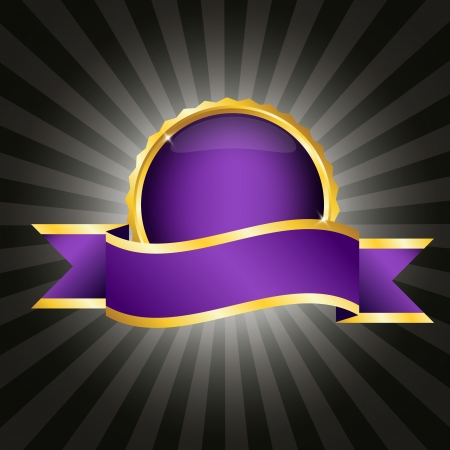 Elegant purple badge with ribbon for text