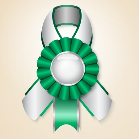 Green  prize ribbon with place for text Stock Vector - 14298319
