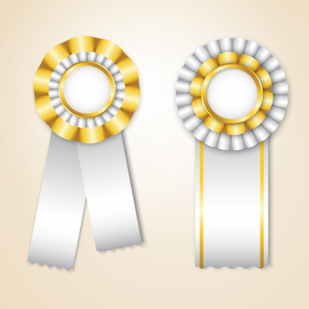 Set of white  prize ribbons with place for text Stock Vector - 14298321