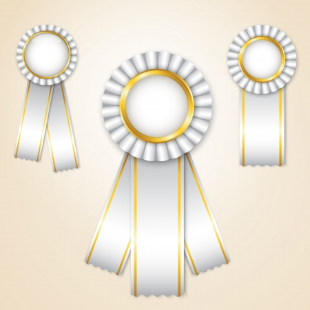 Set of white  prize ribbons with place for text Stock Vector - 14298320