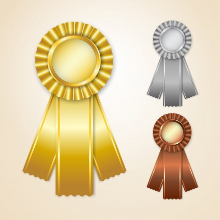 Gold, silver and bronze prize ribbons