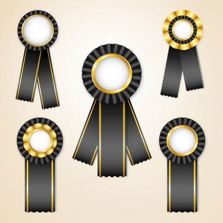 Set of black prize ribbons with place for text Vector