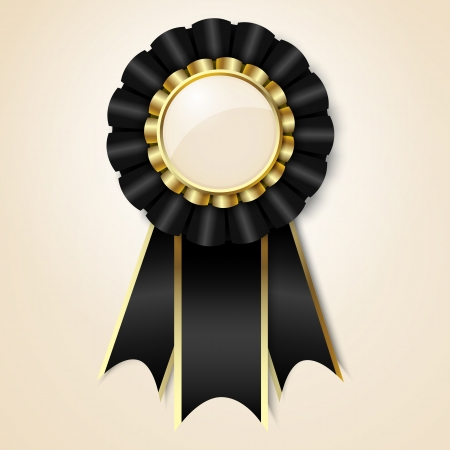 Black vecor prize ribbon with place for text Vector