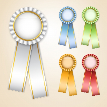 Set of   prize ribbons with place for text Stock Vector - 14298327