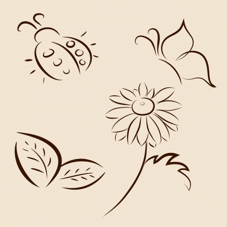 butterflies flying: Hand drawn vector illustration of leafs, ladybird, butterfly and chamomile