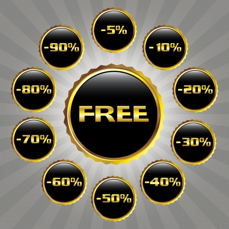 Set of elegant sale badges in black and gold color Stock Vector - 14453753