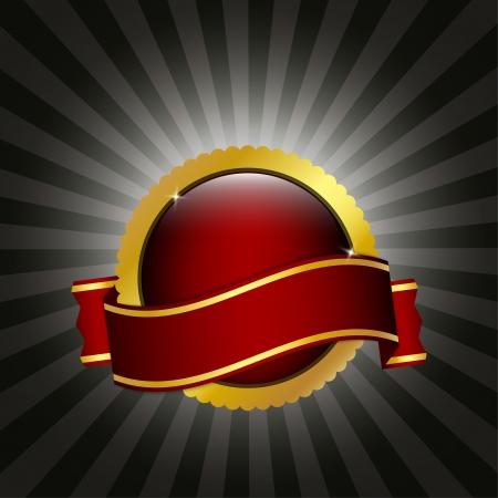 Insignia roja y oro con la cinta Ilustración de vector