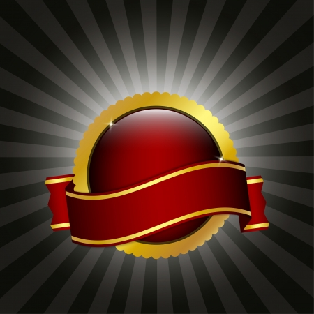 Red and gold badge with ribbon Illusztráció