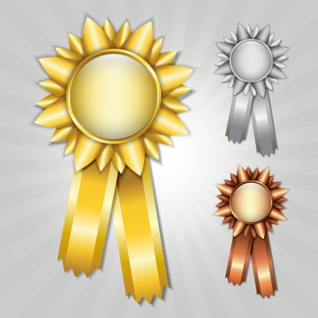 Gold, silver and bronze prize ribbons Vector