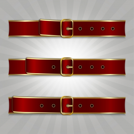 Belts with buckle, illustration of slimming process Stock Vector - 14585599