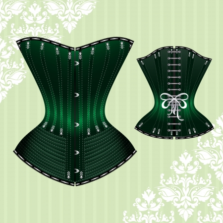 illustration of corset inspired by historic corsets. Front and back view