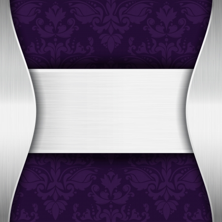 Silver and purple template with place for text Vector