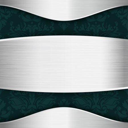 Silver and blue-green template with place for text Vector