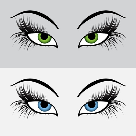 Set of graphic female eyes Vector