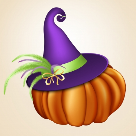halloween witch: Halloween orange pumpkin with violet witch hat