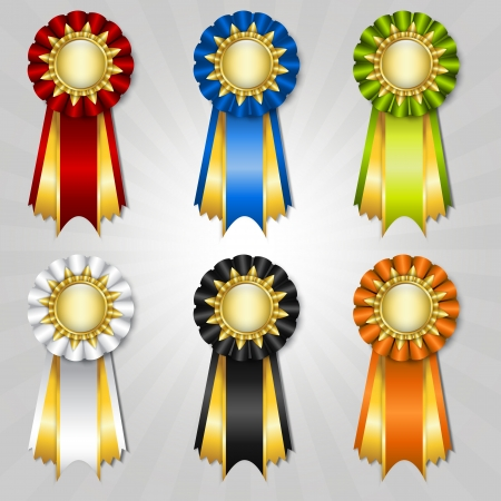 diploma: Conjunto de cintas vecor premio con lugar para el texto
