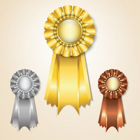 Gold, silver and bronze prize ribbons Stock Vector - 14585611