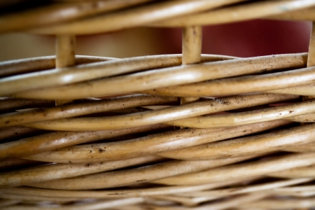 frail: Vintage braided wooden basket Stock Photo